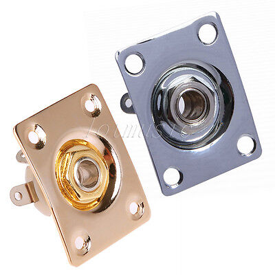 2 Pcs Square Output Plate With Jack for Electric Guitar Gold And Chrome Parts