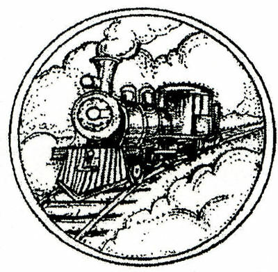 Vintage Train Engine Small Wood Mounted Rubber Stamp Northwoods