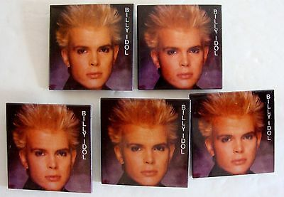 Lot Of 5 Vintage Billy Idol Square Pinbacks Pins Buttons Punk Rock