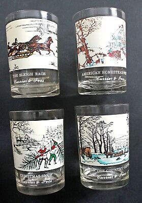 Arby's Collector's Series Currier & Ives Drink Glasses Set of 4 Different