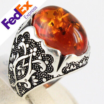 Special Design 925 Sterling Silver Turkish Handmade Ottoman Amber Men Ring Sizes