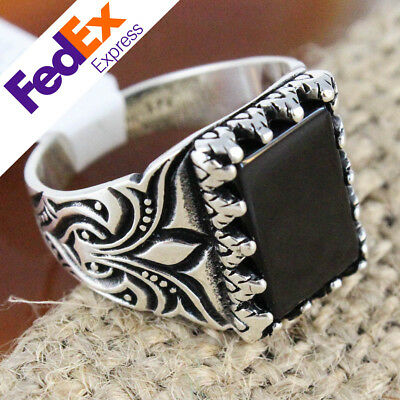 925 Sterling Silver Turkish Ottoman Onyx Stone Luxury Gift Men's Ring Size 7-14