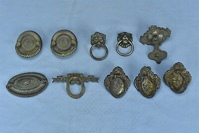 Antique MIXED LOT of 10 PRESSED BRASS DRAWER HANDLE PULL HARDWARE #04585