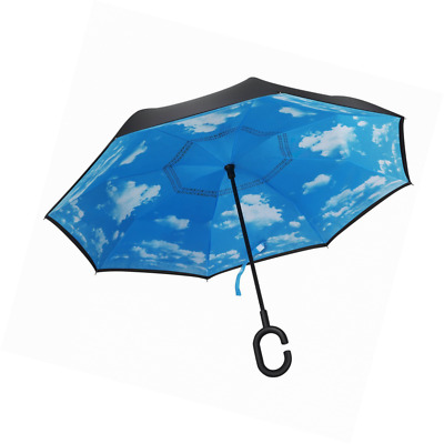 PLEMO Double Layer Inside-Out Inverted Umbrella and Self Standing, Reverse Foldi