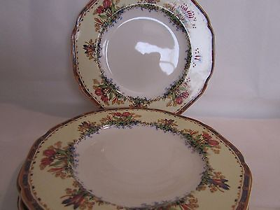 Vintage Set Of Three (3) Crown Ducal Tulip Lunch Or Salad Plates Raised Pattern