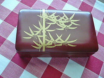 Japananese Lacquered Box Oriental Bamboo Decorative Home Decor Antique Vintage