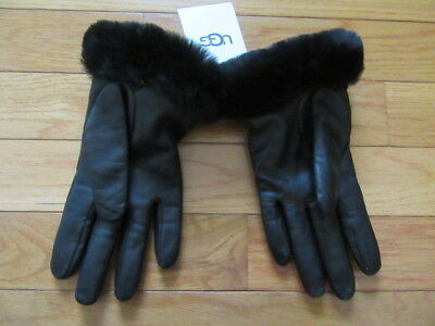 Ugg Australia Womens Black Leather Gloves With Shearling Wrists, Nwt $145, S
