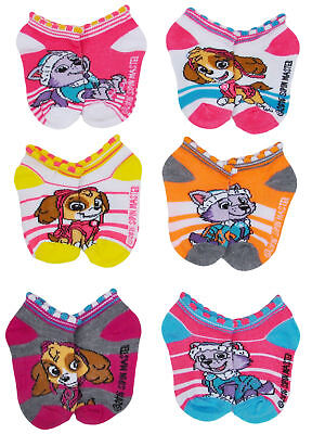 Toddler Girls Paw Patrol Low-Cut Ankle Socks Striped 2-4, 6-Pairs