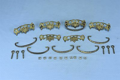 Antique SET of 6 VICTORIAN SOLID BRASS DRAWER PULL HARDWARE FLOWER DESIGN #03423