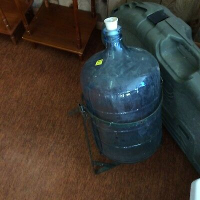 Vintage 5 gal Sparkletts glass water jug w/ stand