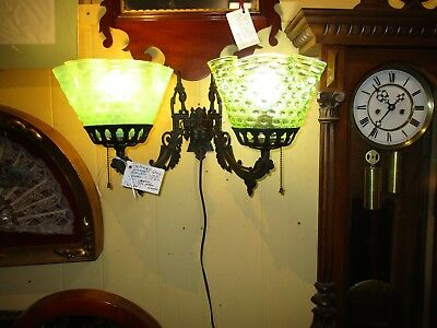 Antique Victorian Wrought Iron Double Wall Sconce With Glass Shades