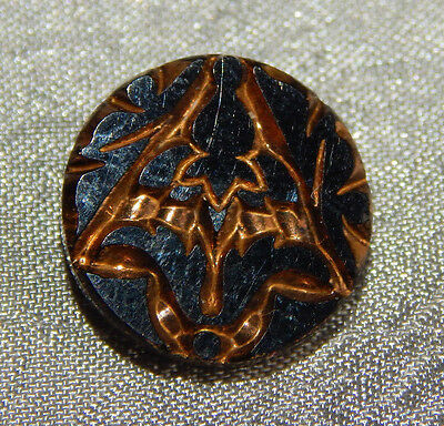Antique Black Glass Buttons Flower Gold Luster #814-A