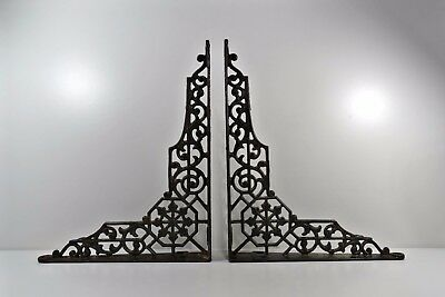 Antique Pair Labyrinth Web Cast Iron Shelf Wall Bracket Rustic Victorian