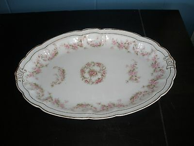 """ZS & Co Bavaria Orleans China Pink Flowers Green Leaves 10-3/4"""" Platter"""