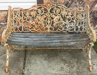 English Coalbrookdale Cast Iron Garden Bench Seat In The Rustic Pattern