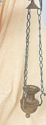 """Antique Incense Hanging Pot Brass & Copper Color Metal Chain Link  28"""" Tall"""