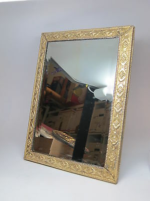 1940s VINTAGE Brass PEERAGE Mirror LARGE England Beveled Silvered Glass Heavy