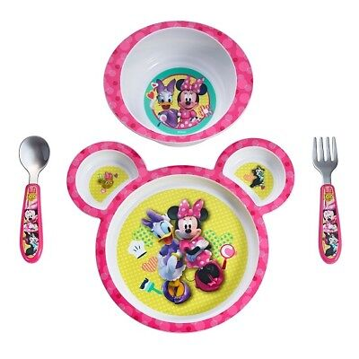 Children Feeding Set Baby 4 Pcs Plate Bowl Fork Spoon Minnie Utensil