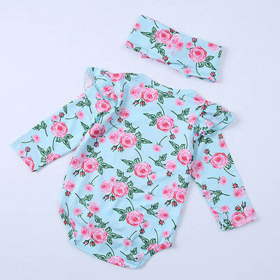 Pretty Infant Baby Girls Floral Long Sleeve Jumpsuits Romper+Headband Outfit Set
