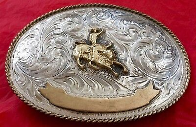 Vintage Western Silver **bull Riding** Cowboy Rodeo Trophy Banner Belt Buckle