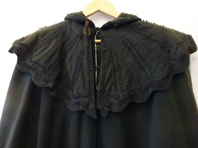 Victorian Mourning Cape Coat in Heavy Wool with Ornate Details