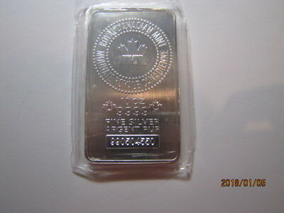 10 oz. Royal Canadian Mint RCM .9999 Silver bar Serial #990504550