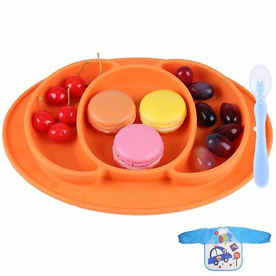Suction Plates for Toddlers - Silicone Placemat Set Portable Baby Plates Non Sli