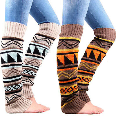 Women Winter Warm Knit High Knee Leg Warmers Crochet Leggings Boot Socks Hosiery
