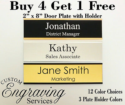 """NAME PLATE WITH HOLDER for door sign plaque 2"""" X 8""""  BUY 4 GET 1 FREE - ENGRAVED"""
