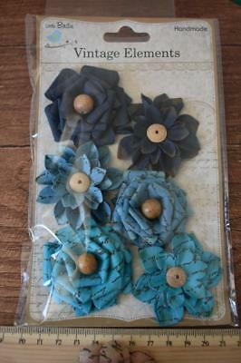 Milan Blue 6pcs Little Birdie Handmade Paper Flowers Scrapbooking Mixed Media