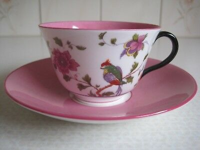 Vintage CROWN STAFFORDSHIRE CHINA Tea Cup Saucer Pink Black Bird of Paradise