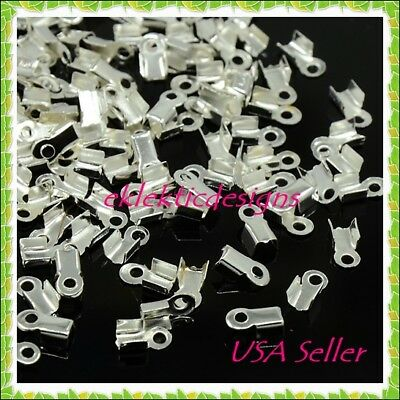 200pc Silver Plated Cord Ends Caps Tips 9x3.5mm Crimps Necklace Jewelry Findings