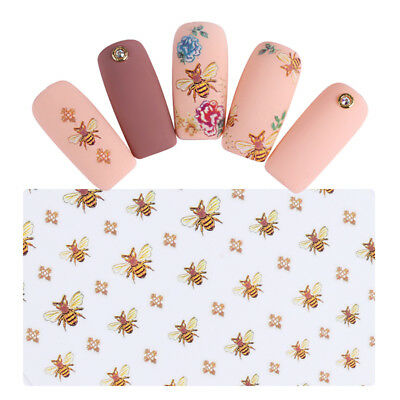 Cute Bee Nail Art 3D Sticker Adhesive Transfer Sticker Manicure Nails Decal DIY