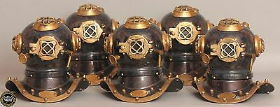 "Lot Of 5 Collectibles Diving Divers Helmet Miniature Reproduction 6"" Decor Gift"