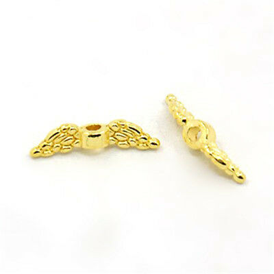 400pcs Gold Tone Tibetan Alloy Angle Wing Metal Beads Loose Spacers Craft 12x3mm