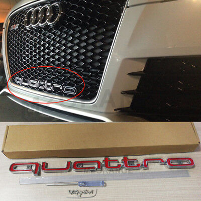 Red RS Style Quattro Badge Logo Grille Emblem For Audi A1 - A8 Q1-Q7 TT New US