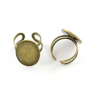 5pcs Antique Bronze Adjustable Brass Ring Bezel Setting Cups Oval 25x18mm Tray