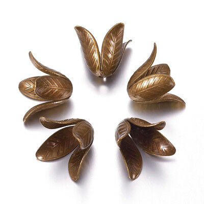 5pcs Antique Bronze Brass Flower Bead Caps 4 Petals Nickel Free Findings 17x22mm