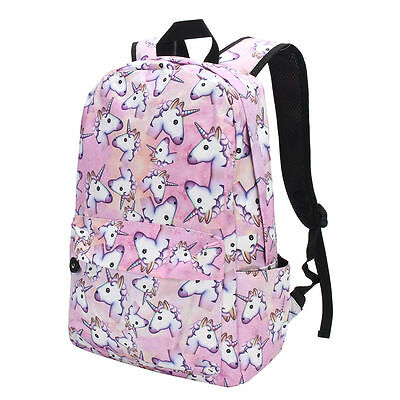3D Girl Unicorn Printing Multi Color Rainbow Backpack School Bag Travel Rucksack
