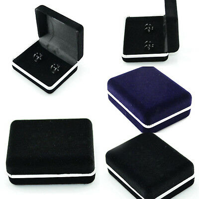 Deluxe Black Cufflink Cuff Links Storage Gift Box Jewelry Display Case Gift Best