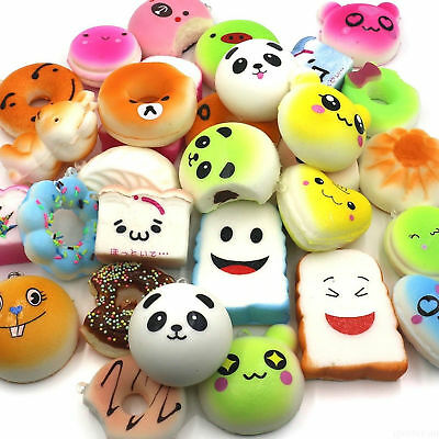 10Pcs/Pack Random Mini Squishies Kawaii Soft Bread Donut Panda Cake Bun Straps