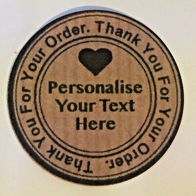 Personalised Thank You For Your Order stickers, Purchase Labels, Kraft Tags