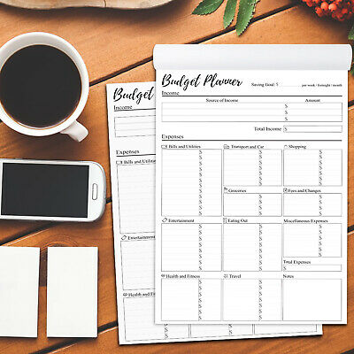 Weekly, Fortnightly, Monthly Budget Planner Notepad in A4 size - 50 sheets