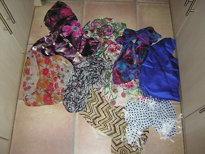 Joblot Of 10 Ladies Scarves Brand New Without Tags Mixed Sizes And Colours