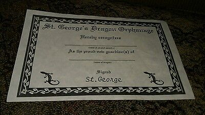 Vintage St. George's Dragon Orphanage Certificate Care For Baby Lizard Reptile