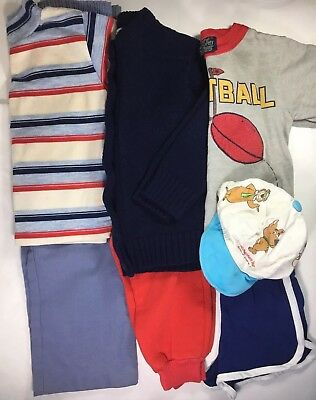 7-piece Vintage Boys Clothes Lot Top Shirt Pants Shorts Hat Sweater USA sz 3 4 5