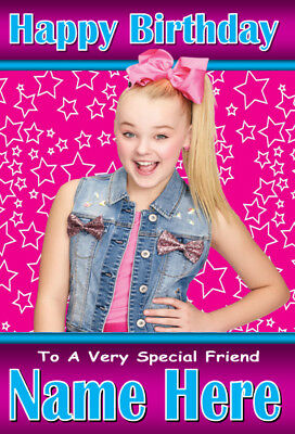 JoJo Siwa Personalised Birthday Card! ANY NAME / AGE / RELATION A5 SIZE! 1
