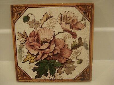 Vintage/ Victorian/ Antique/ Period-Transfer Floral Poppy Print Fireplace Tile
