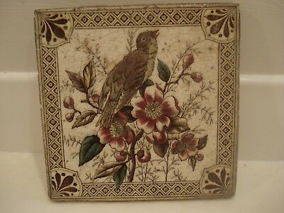 Vintage/ Victorian/ Antique/ Period-Transfer Floral/bird Print Fireplace Tile