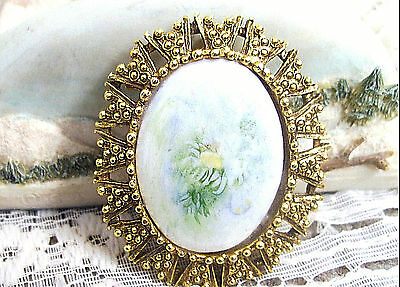 Vintage White Ceramic Green & Yellow Flower Oval Brooch Pin Pendant